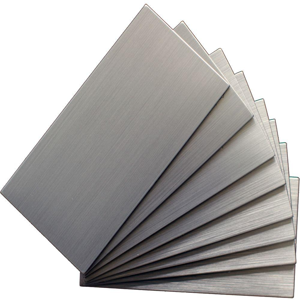 Self Stick Metal Backsplash Tiles Home Depot Metal Tile: Instant Mosaic Peel And Stick Brushed Stainless Color 6 In
