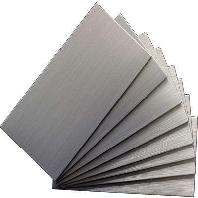 Peel and Stick Brushed Stainless Color 6 in. x 3 in. Metal Wall Tile (8-Pack)