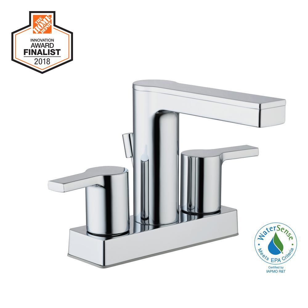 Modern Centerset Bathroom Faucets: Glacier Bay Modern Contemporary 4 In. Centerset 2-Handle