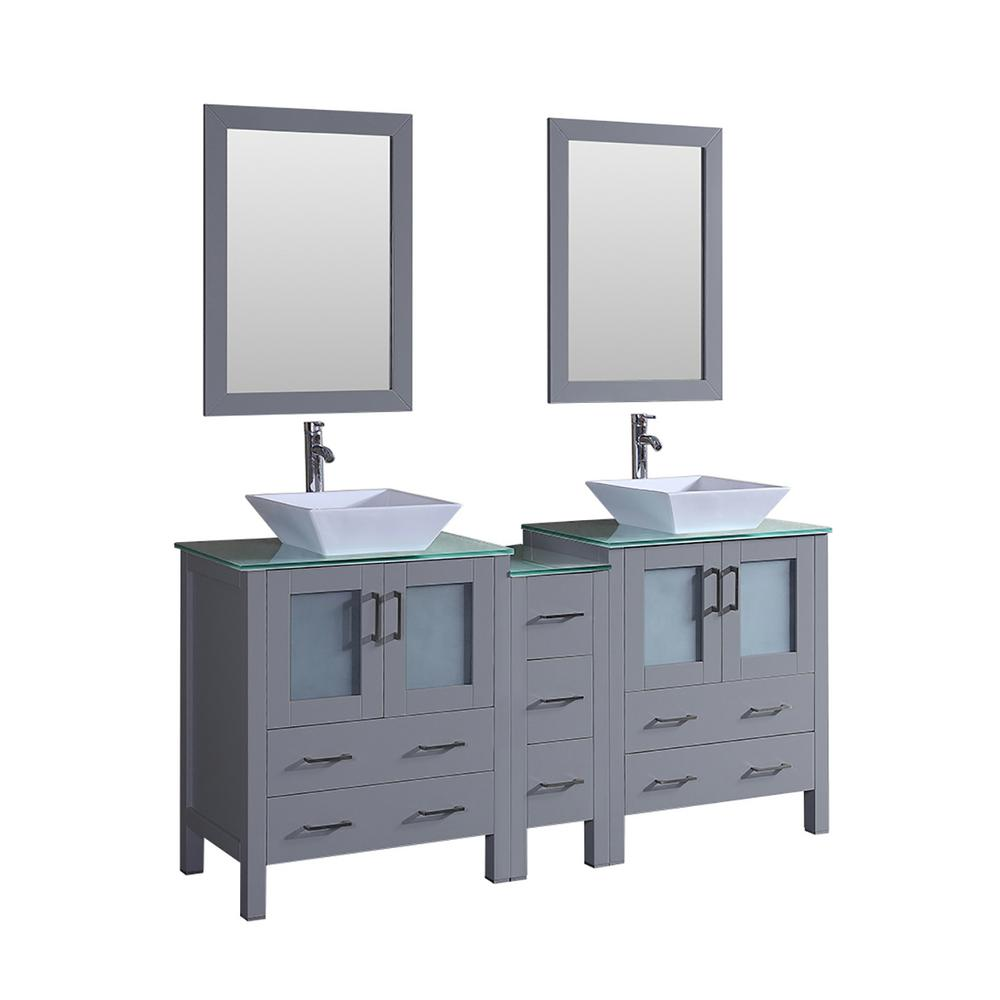 71.3 in. W Double Bath Vanity in Gray with Vanity Top in Green with ...