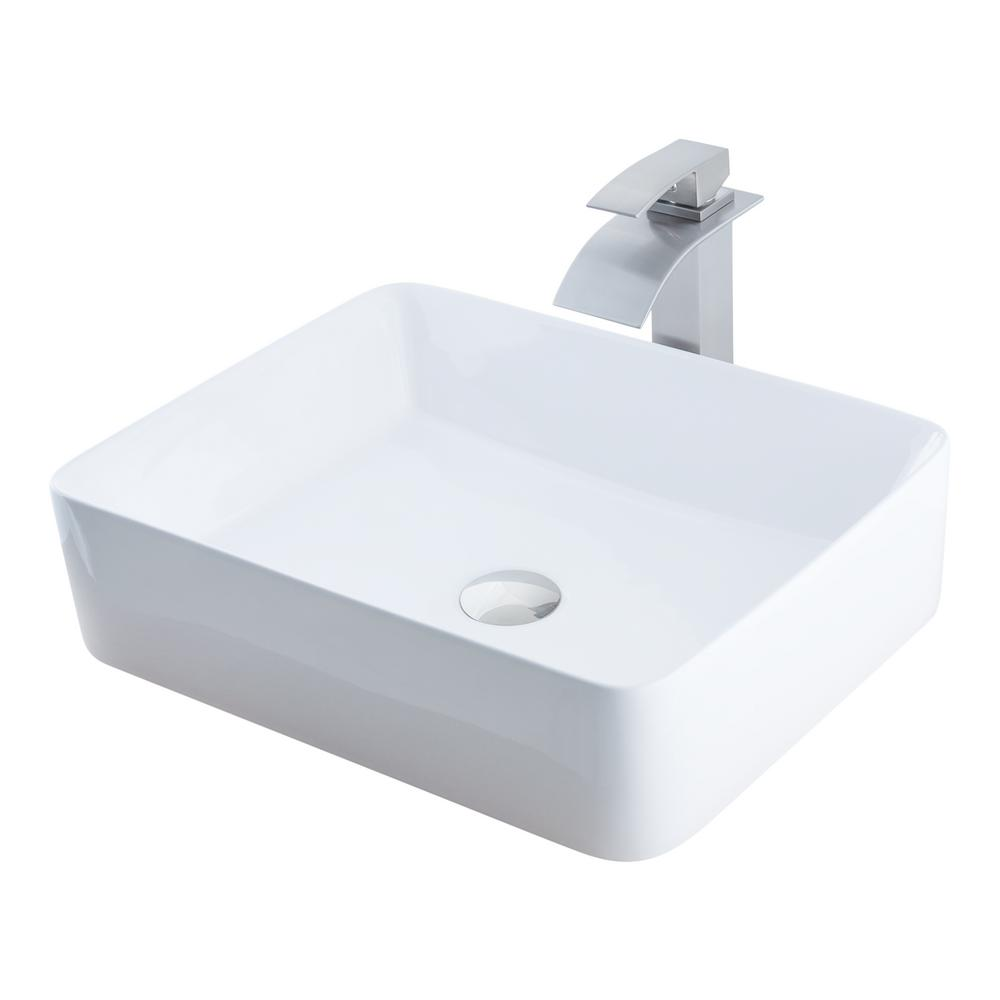 Vessel Sink In White With Faucet In Brushed Nickel Nsfc 01321136bn