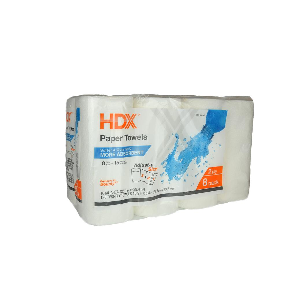 HDX Paper Towels 2-Ply (8 Giant Rolls)