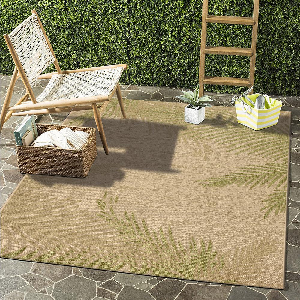 Captiva Beige / Soft Pea 7 ft. 9 in. x 9 ft. 5 in. Rectangle Indoor/Outdoor Area Rug