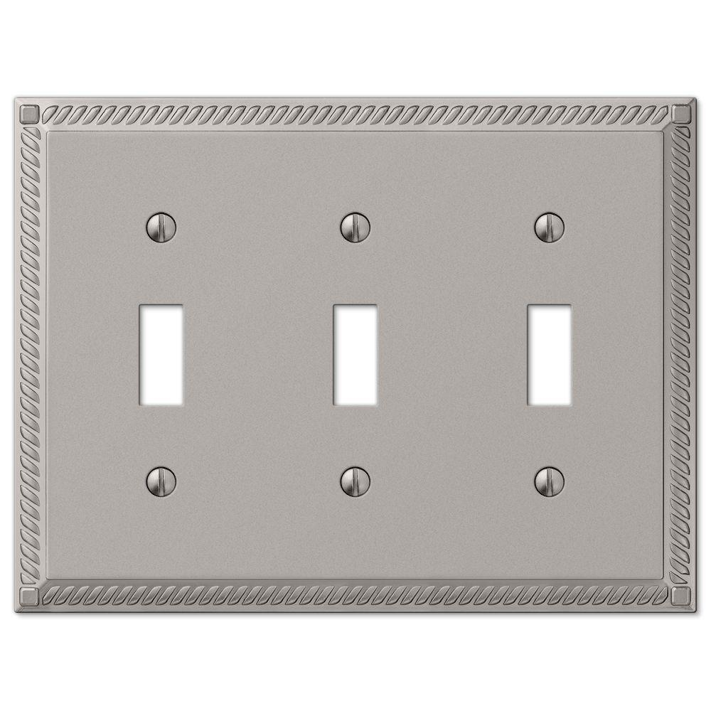 Hampton Bay Georgian 3 Toggle Wall Plate Satin Nickel54TTTN