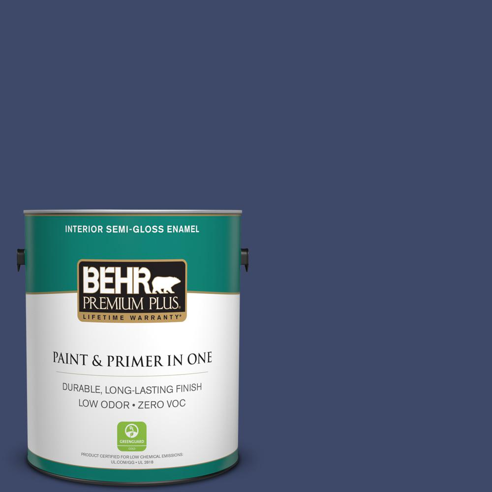 1 gal. #PPU15-01 Nobility Blue Zero VOC Semi-Gloss Enamel Interior Paint
