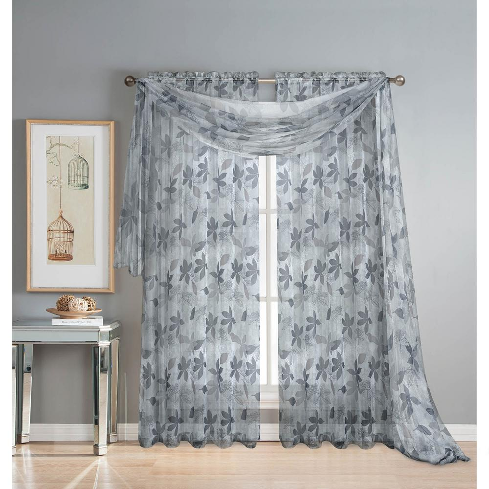 Ashville 54 in. W x 216 in. L Sheer Curtain Scarf