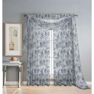 Ashville 54 in. W x 216 in. L Sheer Curtain Scarf in Printed Gray