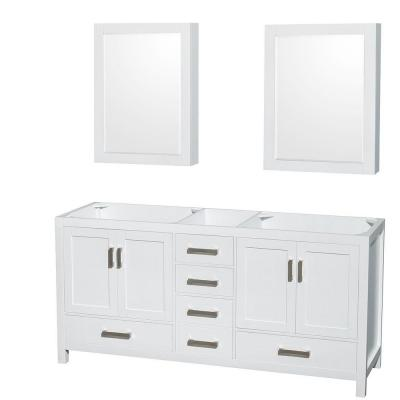 Sheffield 72 in. Double Vanity Cabinet with Mirror Medicine Cabinets in White