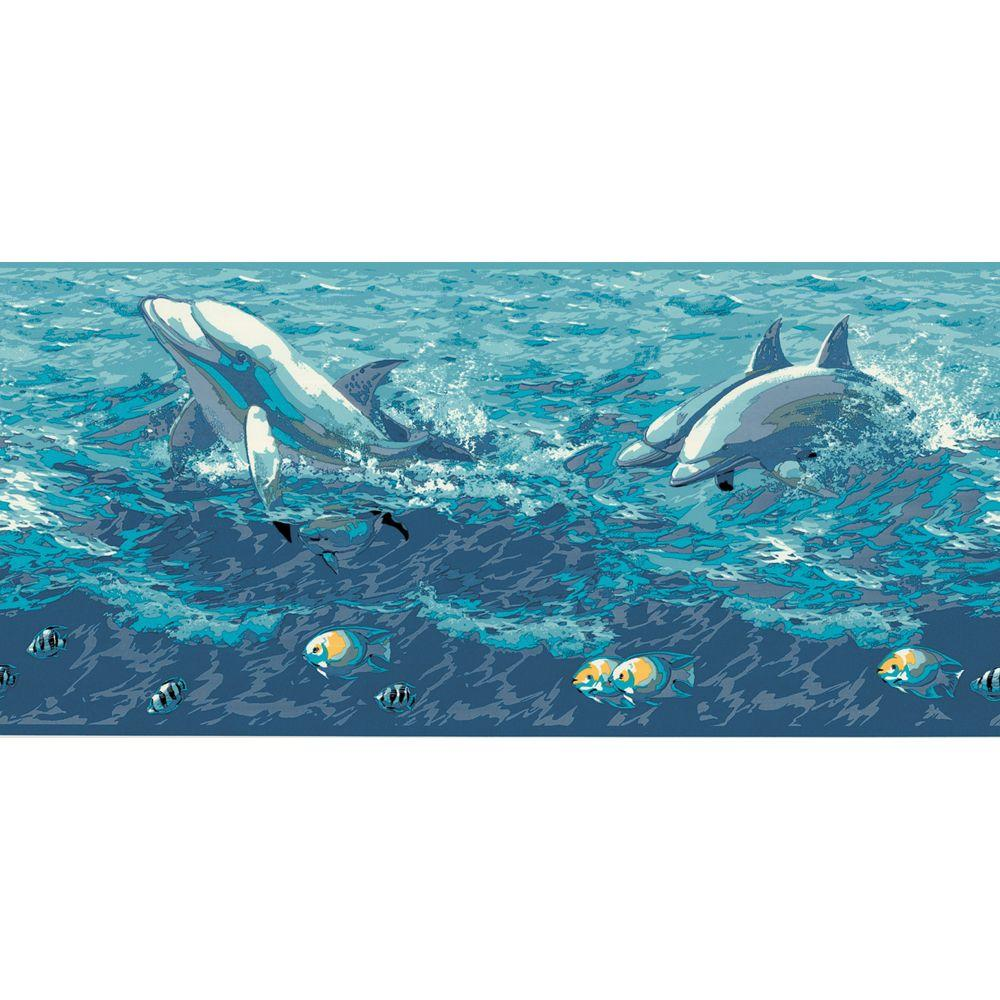 The Wallpaper Company 8 in. x 10 in. Blue Dolphins Border Sample-DISCONTINUED