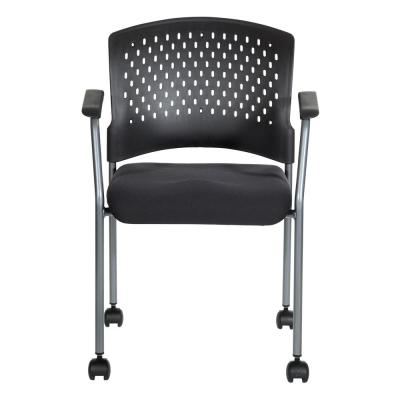 Black Plastic Base Coal Free Flex Seat Rolling Visitor Chair