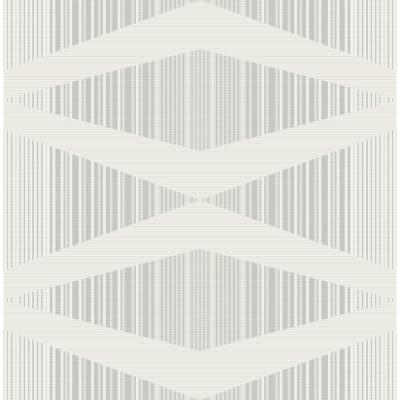 Maxwell Metallic Silver and Gray Stria Wallpaper