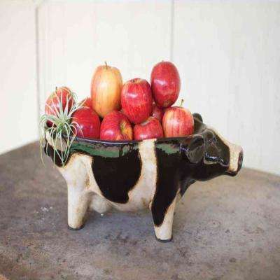 Black and White Decorative Ceramic Cow Platter