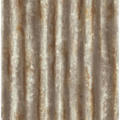 56.4  sq. ft. Kirkland Rust Corrugated Metal Wallpaper