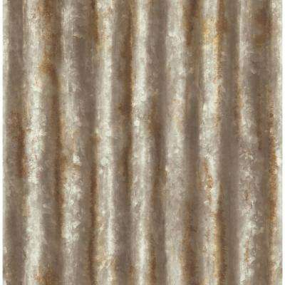 Rust Corrugated Metal Industrial Texture Wallpaper