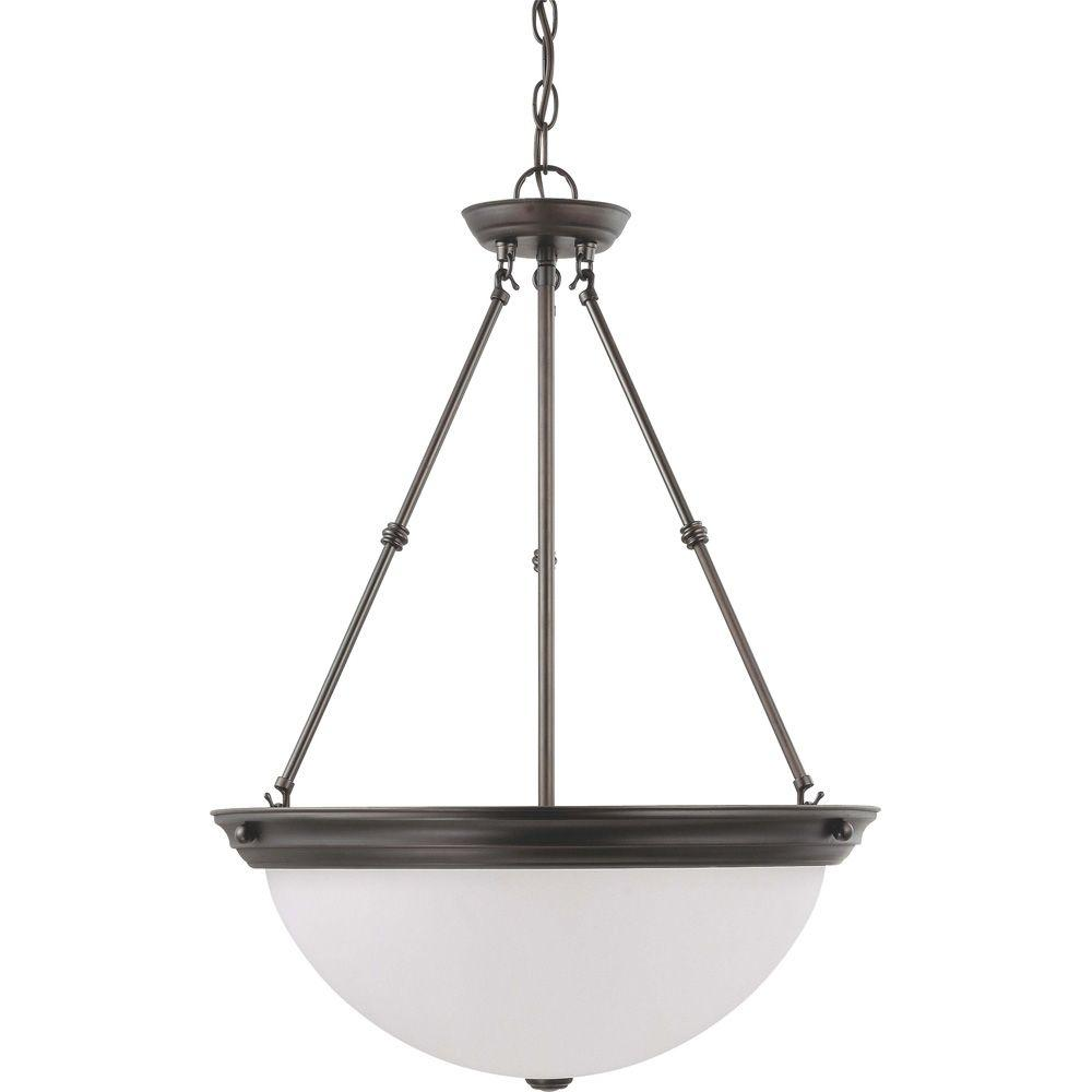 Glomar 3-Light Mahogany Bronze Pendant with Frosted White Glass