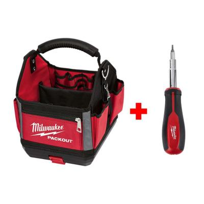 10 in. PACKOUT Tote with 11-in-1 Multi-Tip Screwdriver with Square Drive Bits