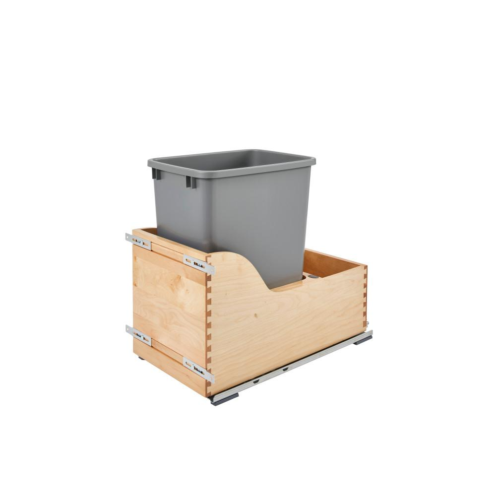 Rev-A-Shelf 19.5 in. H x 12 in. W x 21.75 in. D Single 35 Qt. Pull-Out Bottom Mount Wood and Silver Waste Container with Soft-Close
