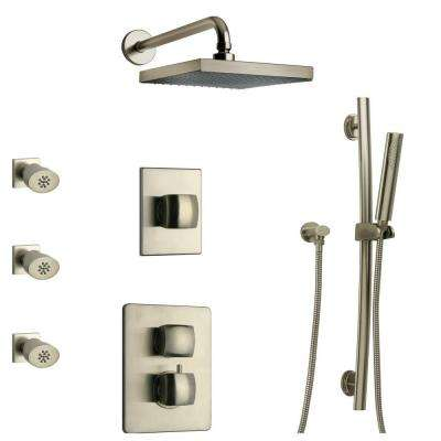 Lady 30 in. 3-Jet Shower System with Slide Bar Handshower, Rain Showerhead and Thermostatic Valve in Brushed Nickel