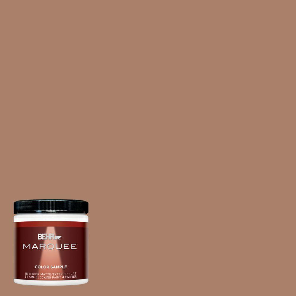 Behr Marquee 8 Oz Mq2 42 Warm Cognac One Coat Hide Matte Interior Exterior Paint And Primer In One Sample