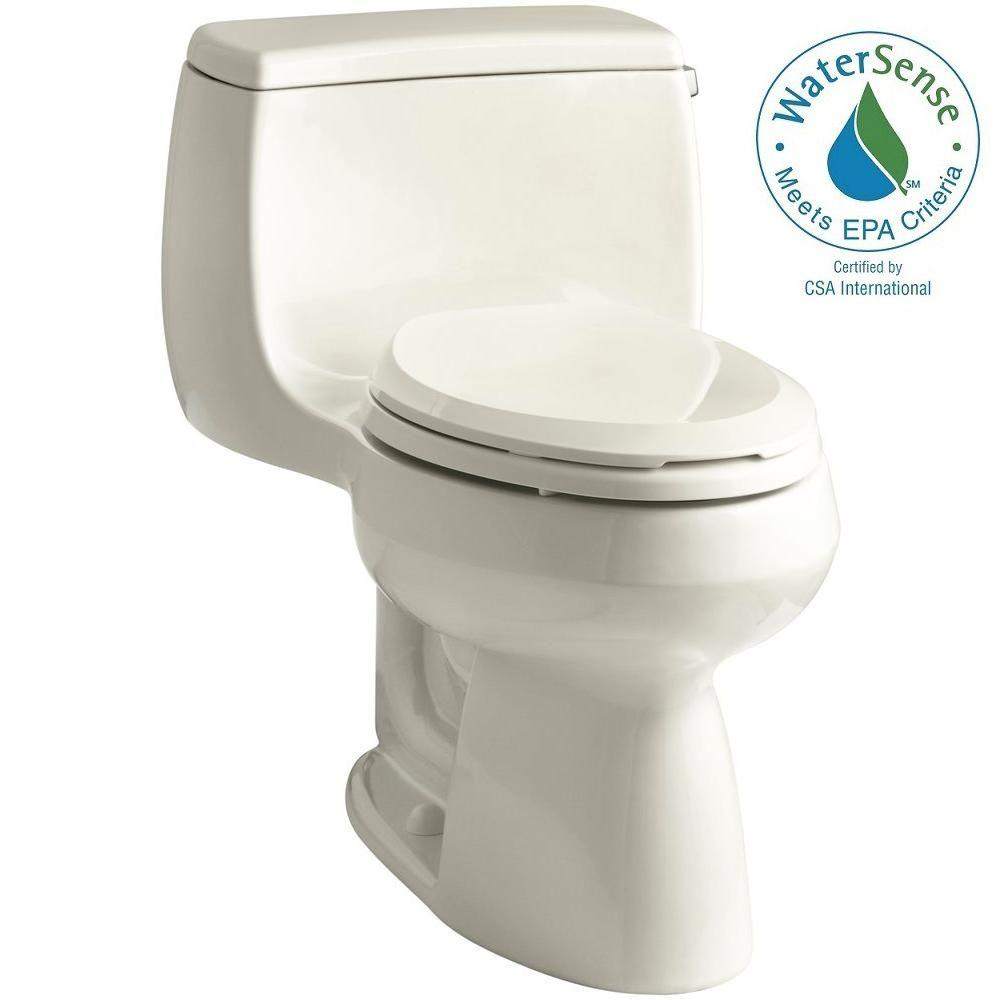 KOHLER Gabrielle 1-Piece 1.28 GPF Single Flush Elongated Toilet with AquaPiston Flushing Technology in Biscuit