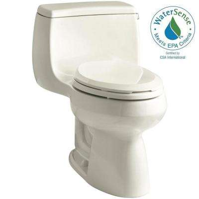 Gabrielle 1-Piece 1.28 GPF Single Flush Elongated Toilet with AquaPiston Flushing Technology in Biscuit, Seat Included
