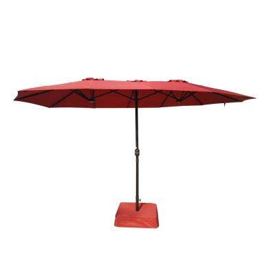 8.8 ft. x 14 ft. Triple Vent Patio Umbrella in Red with Sand Bag Base