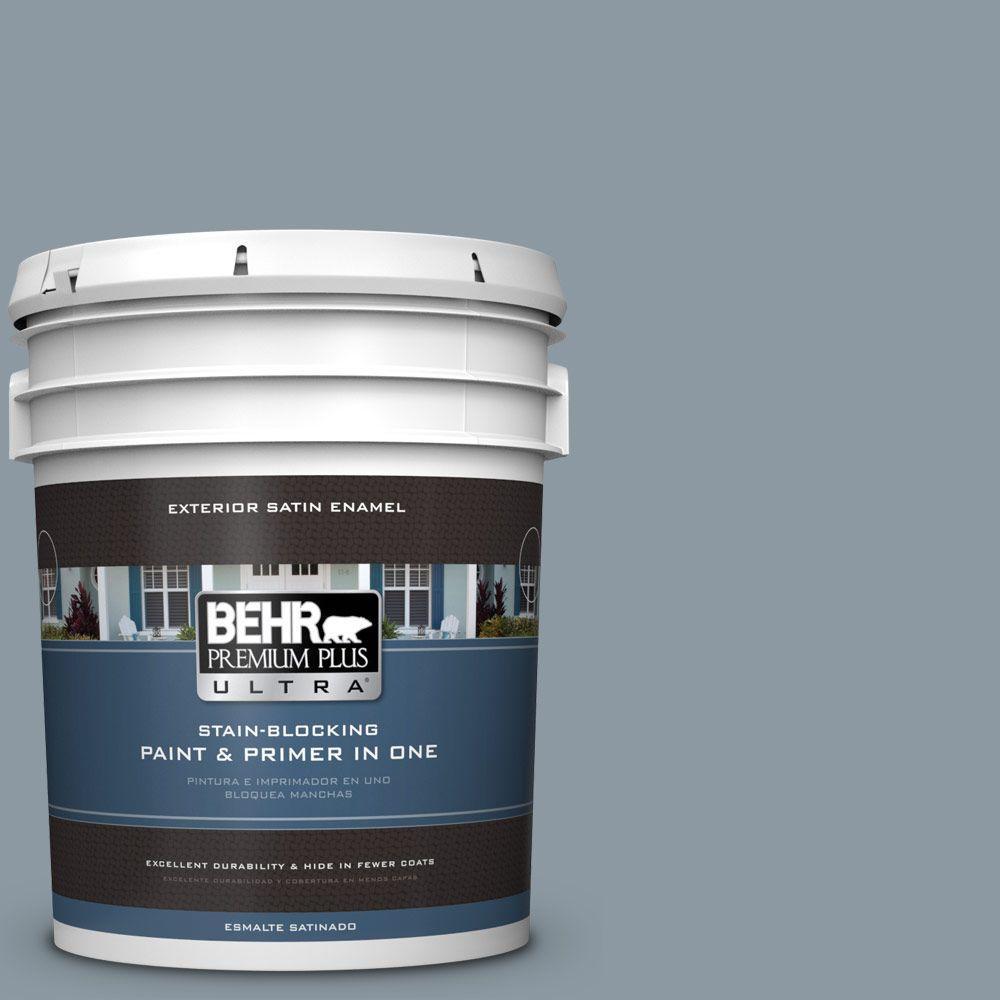 BEHR Premium Plus Ultra 5-gal. #N490-4 Teton Blue Satin E...