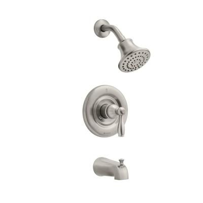 Mandouri Single-Handle 1-Spray Tub and Shower Faucet in Brushed Nickel (Valve Included)