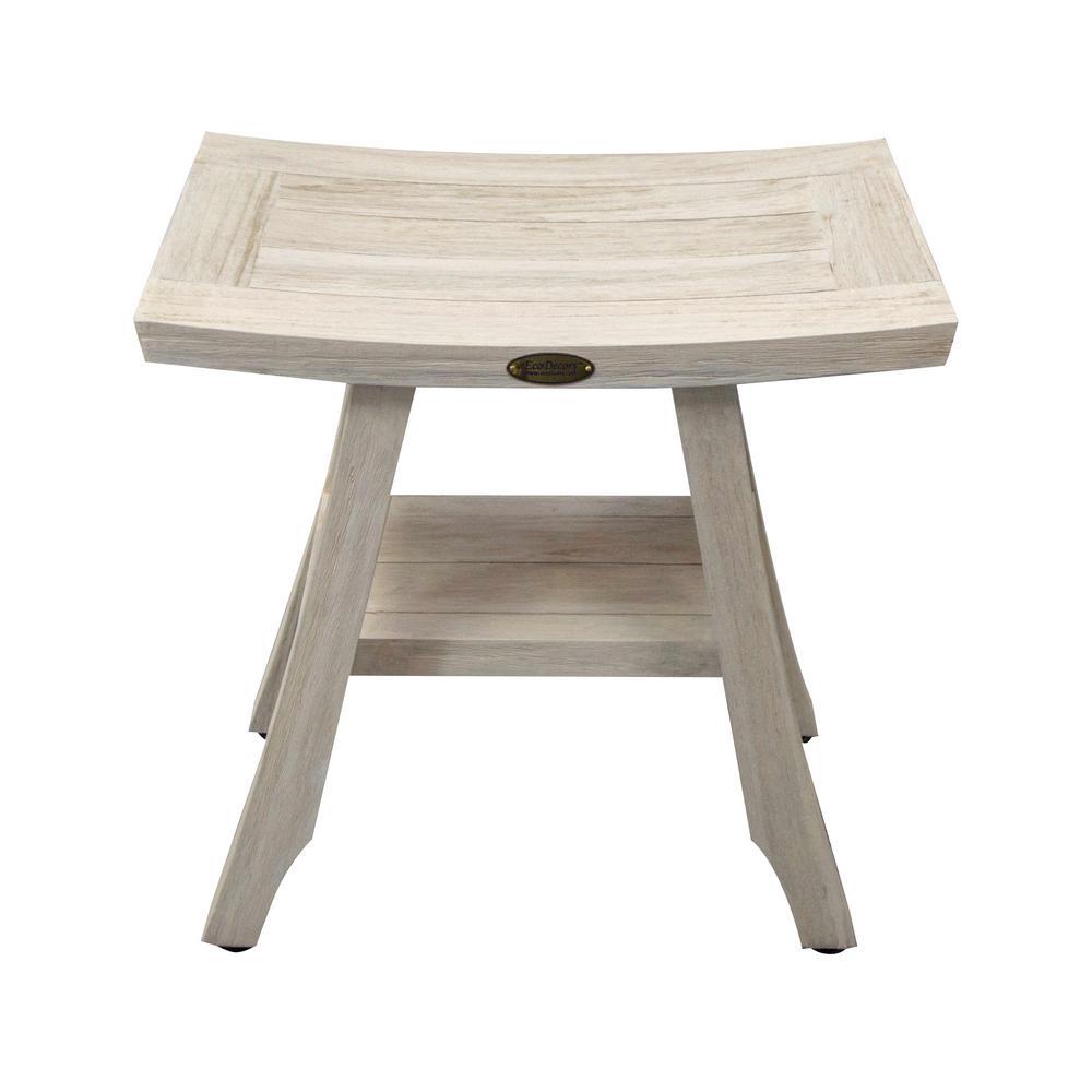 L Eastern Style Teak Shower Stool With Shelf In Driftwood