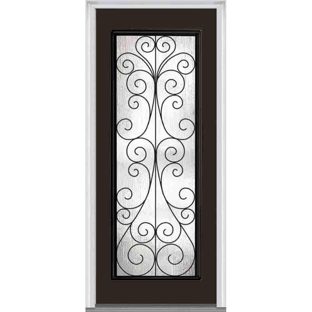 33.5 in. x 81.75 in. Camelia Decorative Glass Full Lite Painted Fiberglass Smooth Exterior Door
