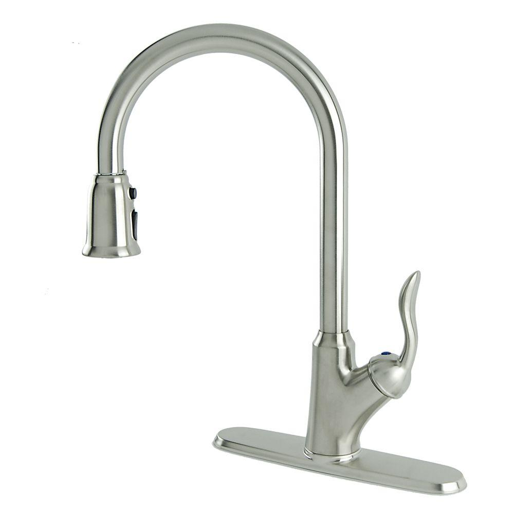 Francesca Single-Handle Pull-Down Sprayer Kitchen Faucet in Stainless Steel