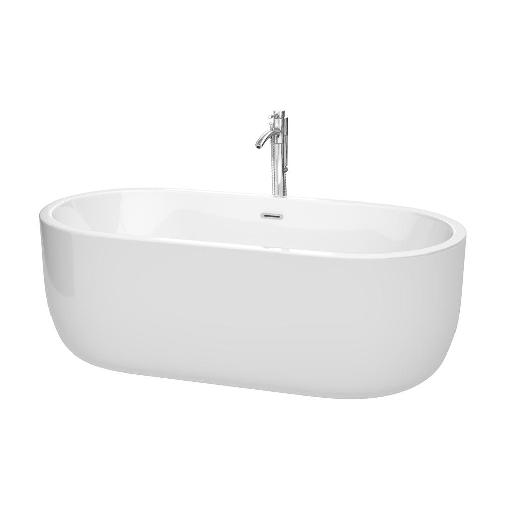 Wyndham Collection Juliette 5.6 ft. Acrylic Flatbottom Non-Whirlpool ...