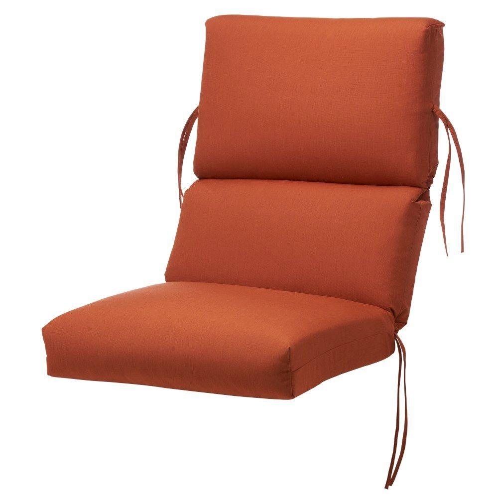 Home Decorators Collection Rust Sunbrella Bull-Nose High Back Outdoor Chair Cushion