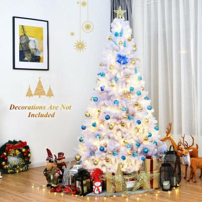7.5 ft. Snow White Unlit Hinged Artificial Christmas Tree with Metal Stand