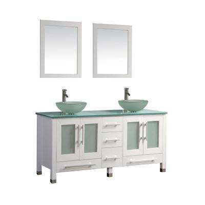 Cuba 61 in. W x 20.5 in. D x 36 in. H Vanity in White with Glass Vanity Top with Green Basins and Mirrors