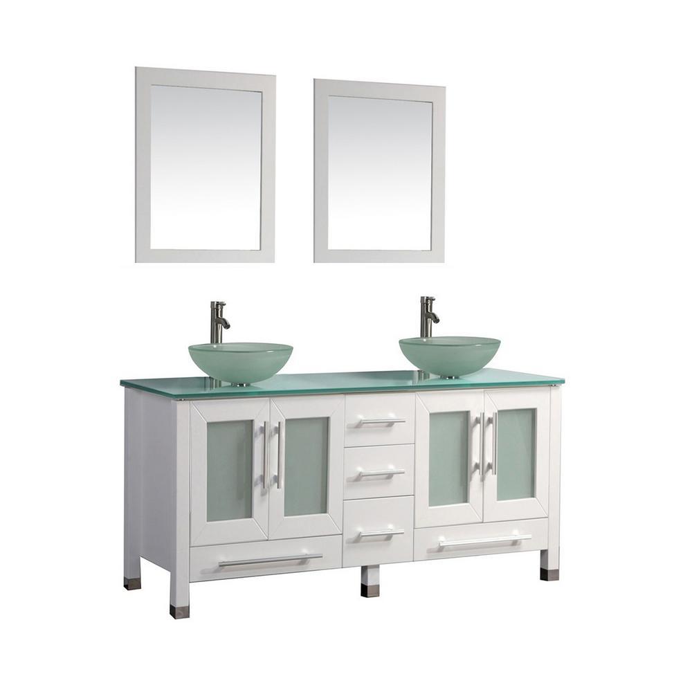 Mtd Vanity White Glass Vanity Top Green Basins Mirrors Product Photo