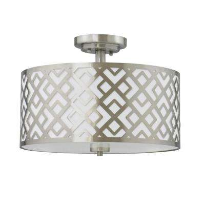 Ashley 3-Light Brushed Nickel Semi-Flush Mount