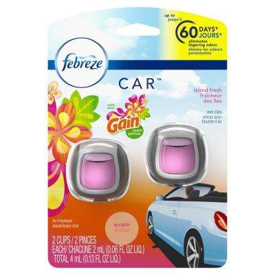 0.06 oz. Island Fresh Scent Car Air Freshener Vent Clips with Gain Scent (2-Count)