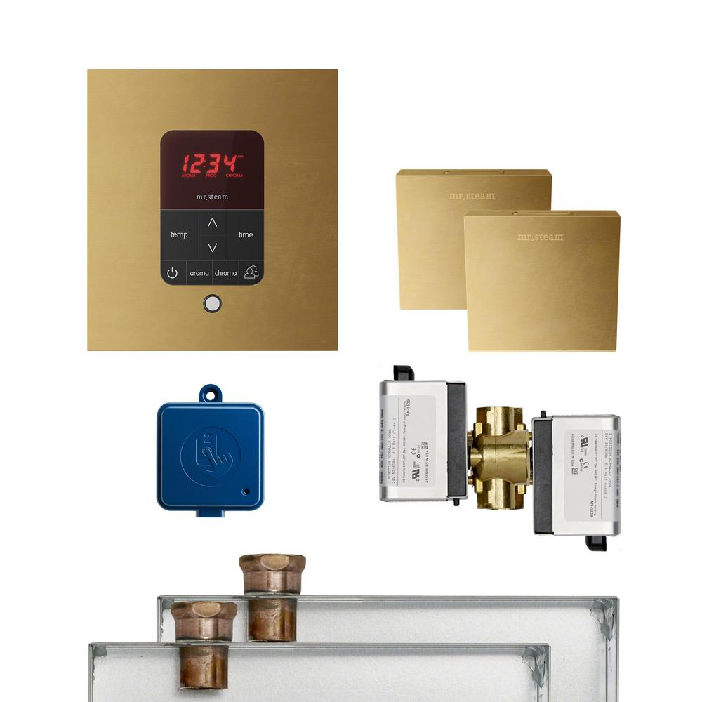 Mr. Steam MS Butler 2 Package with iTempo Pro Square Programmable Control for Steam Bath Generator in Un-Plated Finish