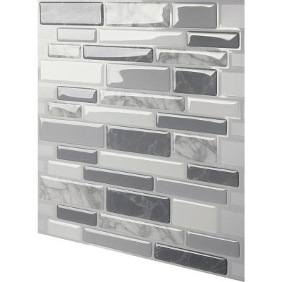 Polito Grey 12 in. W x 12 in. H Peel and Stick Self-Adhesive Decorative Mosaic Wall Tile Backsplash (10-Tiles)