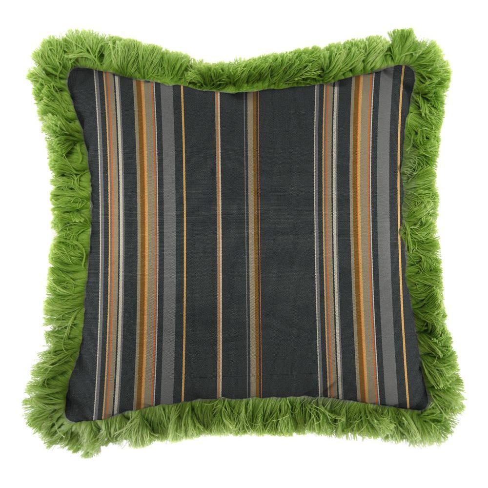 Sunbrella Stanton Greystone Square Outdoor Throw Pillow with Gingko Fringe