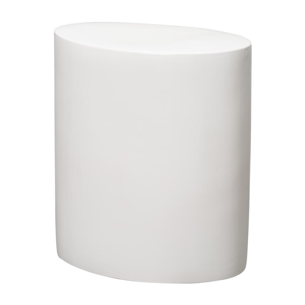 22 in. Oval White Ceramic Garden Stool
