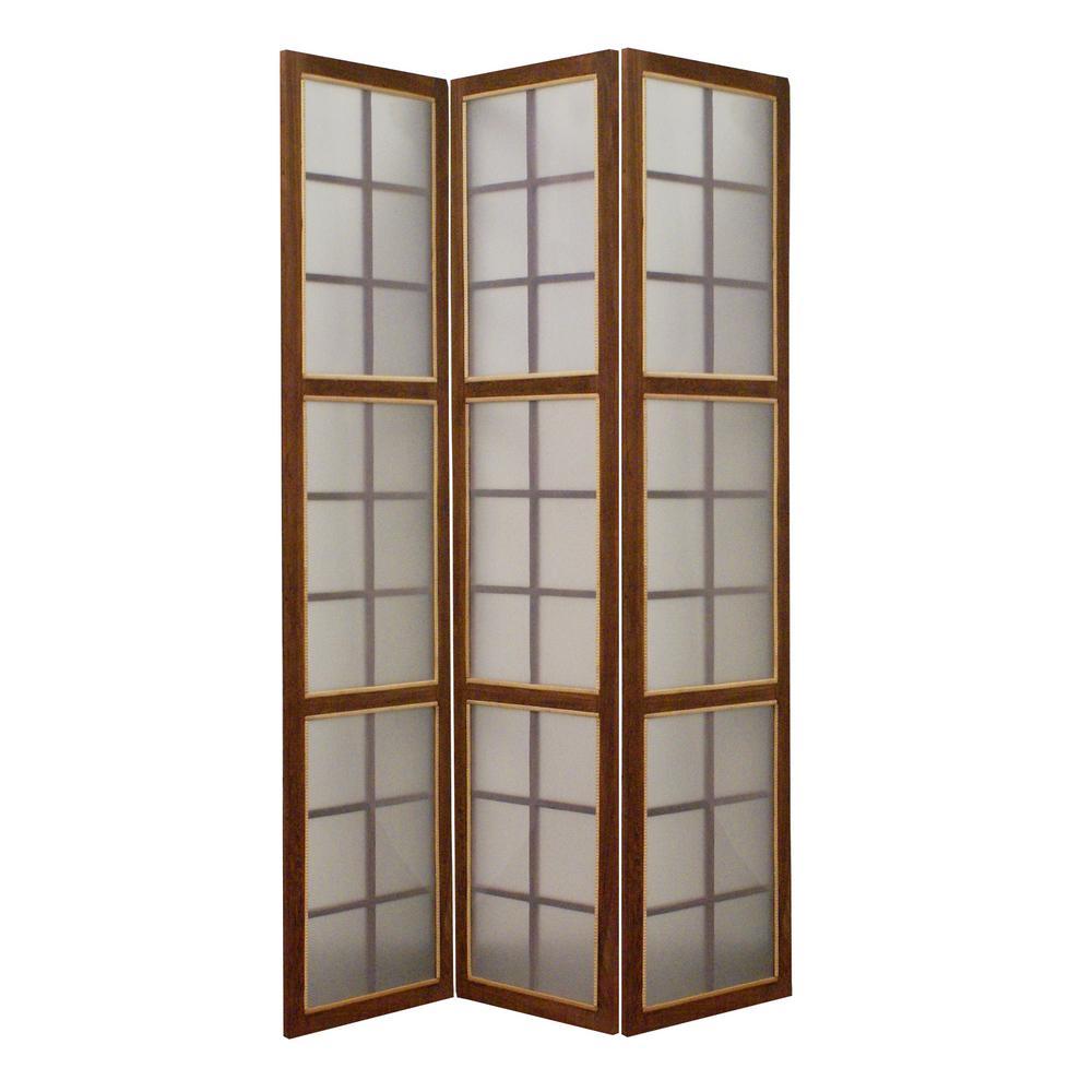 MOROCCAN 6 ft. Brown 3-Panel Room Divider