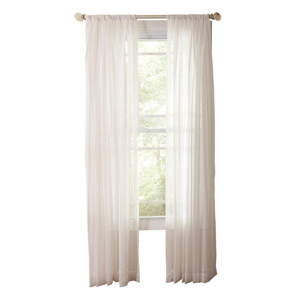 Martha Stewart Living Pure White Sheer Stripe Rod Pocket Curtain - 50 in. W x 108 in. L