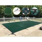 16 ft. x 32 ft. Rectangle Green Mesh In-Ground Safety Pool Cover