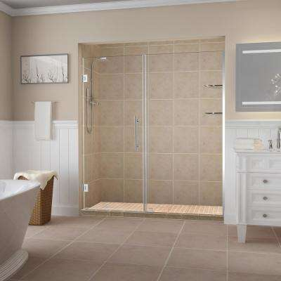 BelmoreGS 71.25 in. to 72.25 in. x 72 in. Frameless Hinged Shower Door with Glass Shelves in Chrome