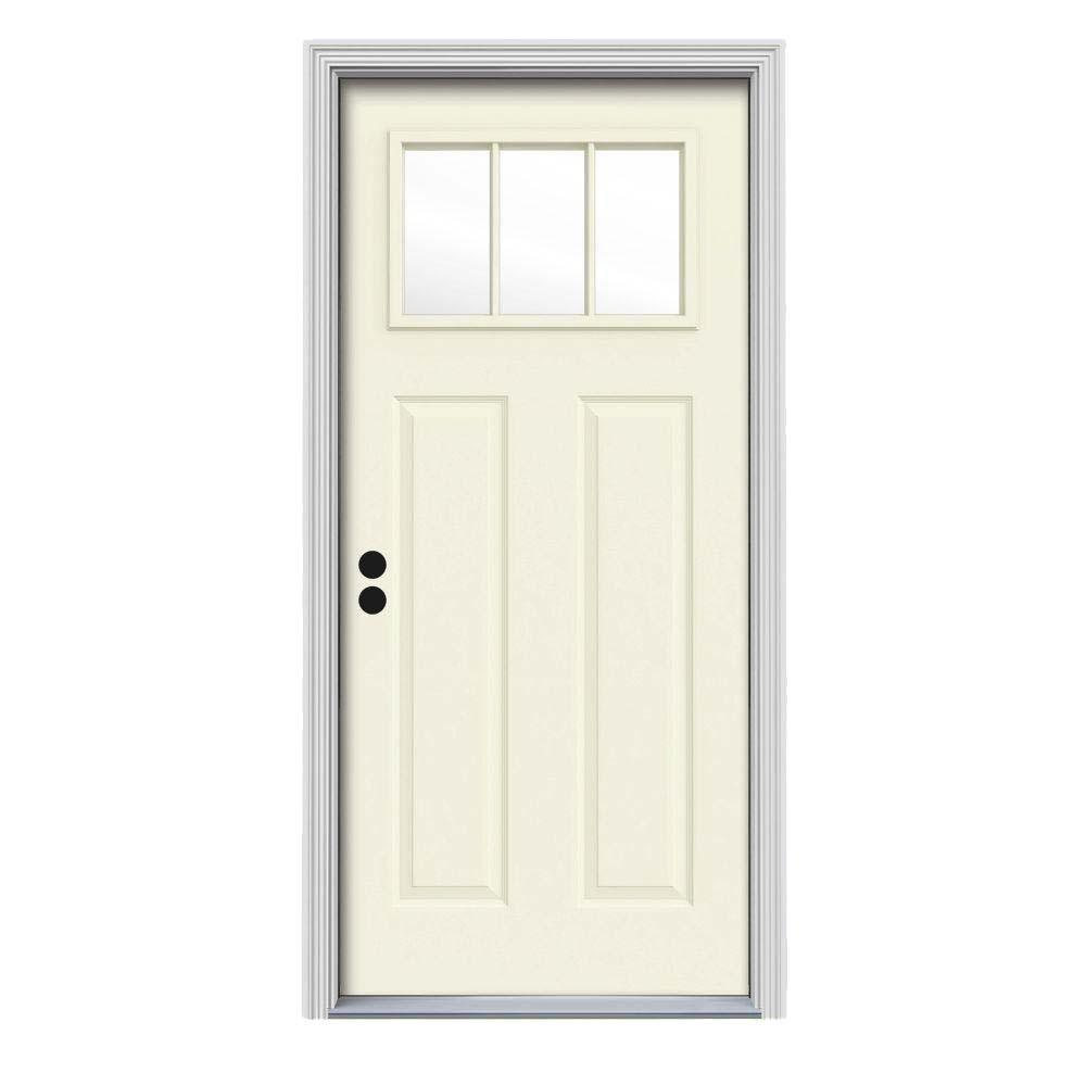 30 in. x 80 in. 3 Lite Craftsman Vanilla Painted Steel Prehung Right-Hand Inswing Front Door w/Brickmould