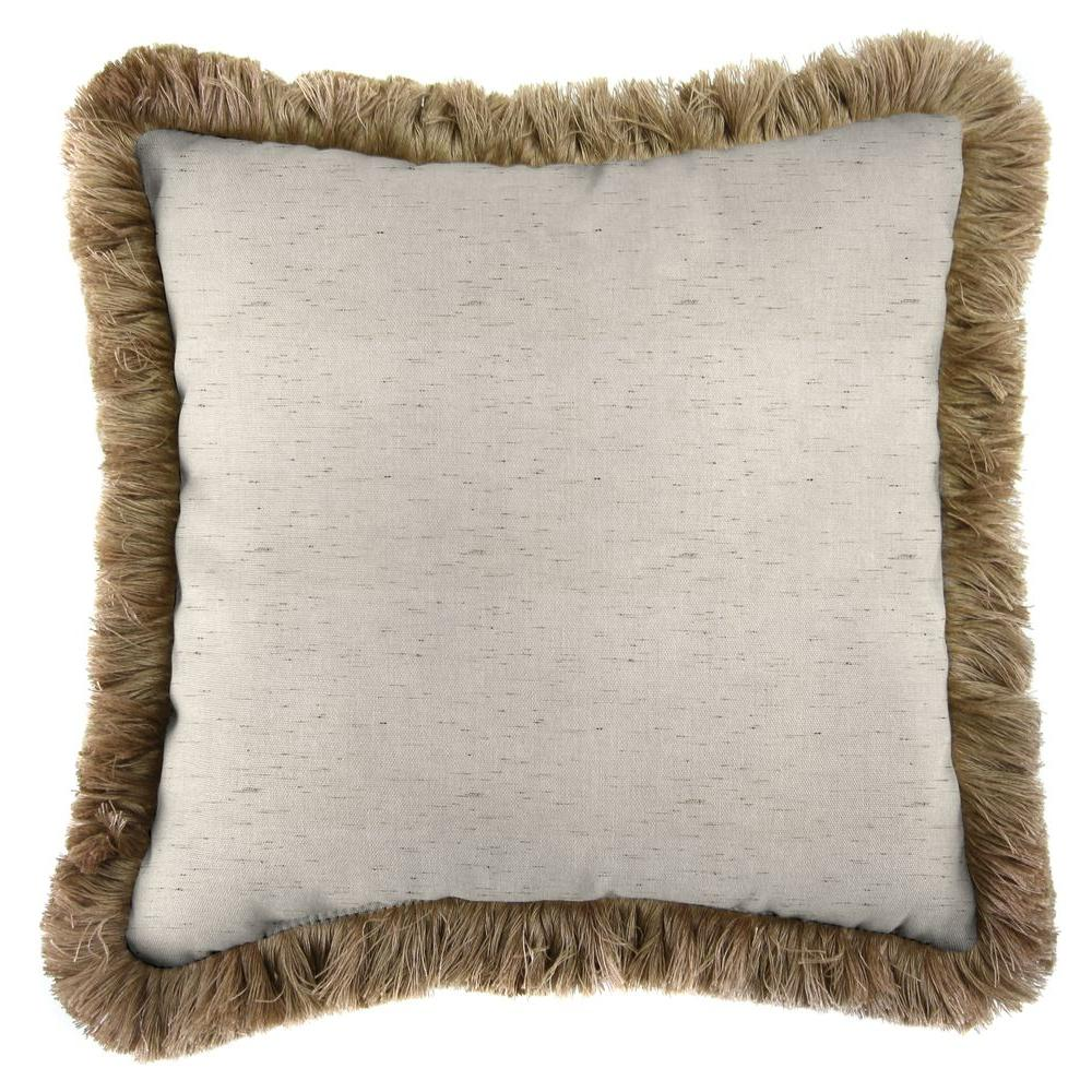 Sunbrella Frequency Parchment Square Outdoor Throw Pillow with Heather Beige