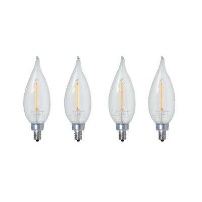 40W Equivalent Warm White Light CA10 Dimmable LED Filament Light Bulb (4-Pack)