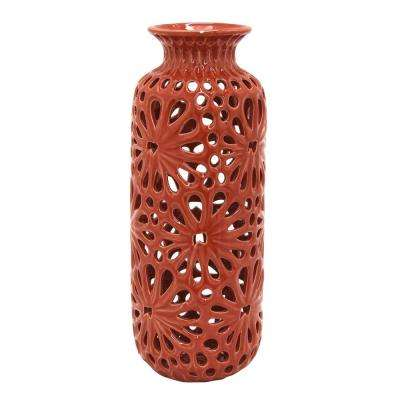 10 in. Red Decorative Red Ceramic Pierced Decorative Vase with Glossy